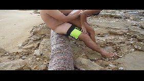 Trepando na praia